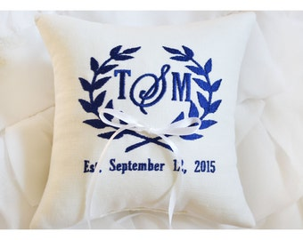 Ring bearer pillow, wedding ring pillow Monogrammed ring pillow Custom embroidered ring bearer pillow (RBP23)