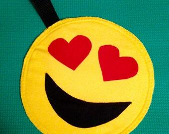 Emoji Wristlet, Emoji, Wristlet, Girl Wristlet, Fun Handbags, Yellow Bag, Unusual Bags, Hearts