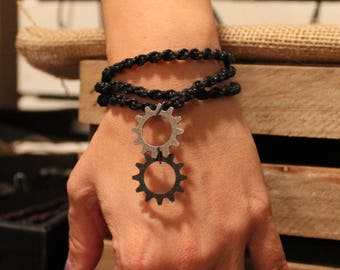 Black macrame with dual metal gears necklace or multi-wrap bracelet
