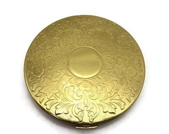 Elgin American Compact - Gold Tone Flowers American Beauty Powder