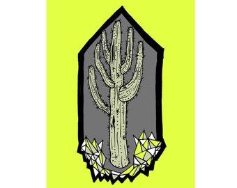 Saguaro Geode II - Southwest Print - Neon Yellow & Grey - 8 x 10