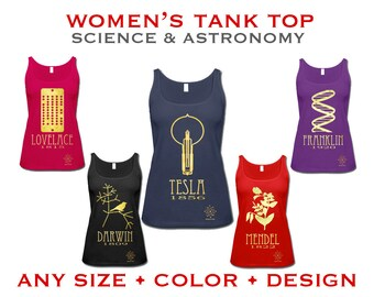 Science Tank Top. Women's Geek Shirt,  Rock Star Scientist, Astronomy Physics Chemistry Biology Nerd TShirt. Women in STEM. Nerdy Present
