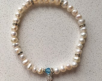 Freshwater pearl 'something blue' bridal bracelet