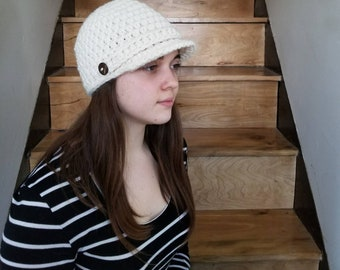 Newsboy Cap / Handmade / Hat with visor / hat with brim / warm winter hat / ready to ship / Wool / Acrylic / Cream / Fishermen / Tan