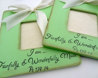 Pastel Color Set of 2 Frames I am Fearfully and Wonderfully Made Ultrasound Annoucnement New Baby