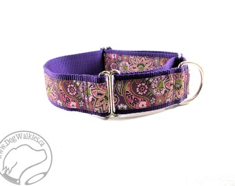 """Plum Paisley Floral Dog Collar - 1.5"""" (38mm) Wide - Choice of size and stlye - Wide Martingale or Side Release Buckle - Purple // Rose Pink"""