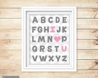 I Love Heart You Alphabet Grey Pink Learning Tool Wall Art Nursery Girl's Room Decor ABC's Printable 11x14 Digital JPG Instant Download 54-4