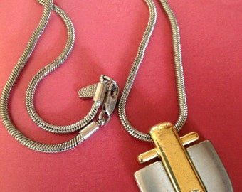 Vintage David GRAU Heavy Chunky Silverstone Necklace Embellished Pendant with Swarovski Crystal Rhinestone