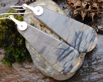 Picasso Jasper and Sterling Silver Dangle Earrings