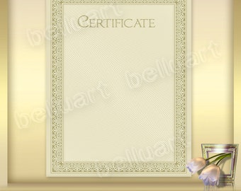 Printable Certificate Template No.1 - Photoshop Template - blank certificate - 8.5 x 11 - Instant Download