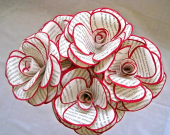Set of 6 Book Paper Flowers, Book Page Flowers, Stem Roses, Paper Wedding Decor, Red and White Flowers, Vintage Paper Flower, Eco Wedding