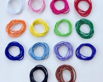 24 Ponytail Holders, No Metal Skinny Elastics, Make Your Own Assortment, 14 Colors to Choose From, Snag-Free