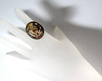 Handmade Oval Polymer Clay Steampunk Ring II