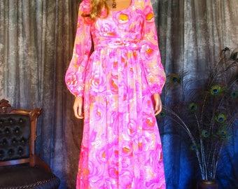Vintage 1970s Maxi Dress / 70s Floral Chiffon Maxi Dress / Vivid Pink Floral Pattern / Chiffon Overlay
