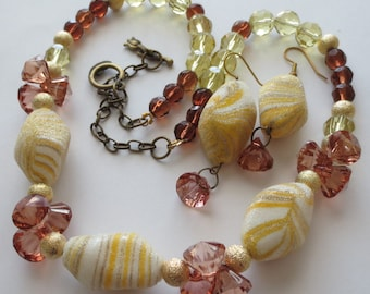 Chunky Necklace & Earrings Set - Vintage Beads - 18 - 23 inch adjustable - Yellow/Bronze/Gold