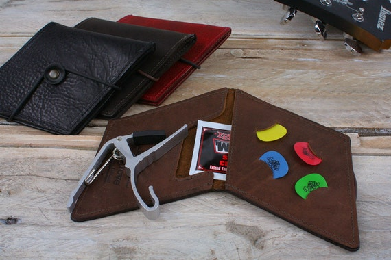 Guitar wallet real leather, leather guitar picks holder, capo case, diamond shape plectrum pouch, kyser capo pouch, music gift for man