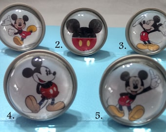 Mickey Mouse Knobs / Bedroom Dresser Knobs / Glass Nursery Drawer Knobs / Pulls Handles / Unique Disney Cabinet knobs