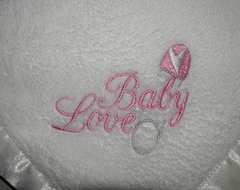 Plush BABY LOVE Blanket Safety Pin Embroidery WHITE - Ready to Ship