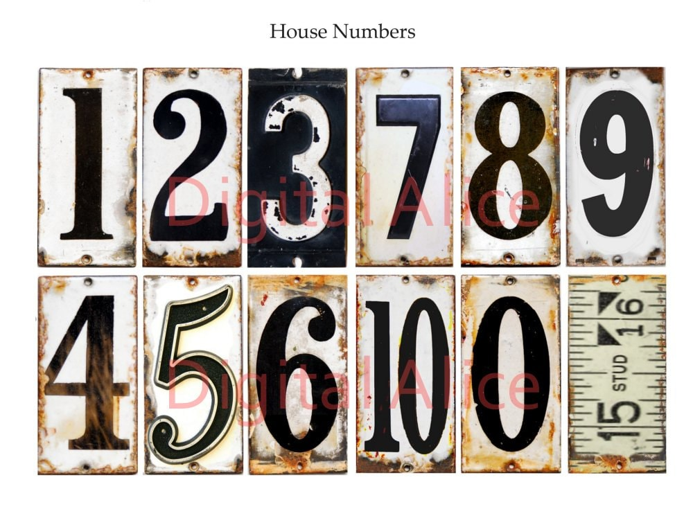 Old vintage metal numbers industrial house numbers instant for Classic house numbers