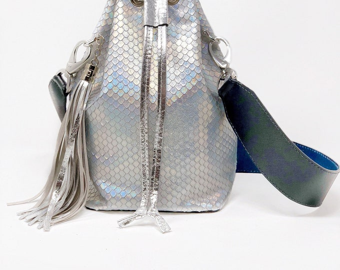 Featured listing image: Handcrafted leather bucket bag in holographic leather dragon scale print dragon purse python floral blue metallic rainbow purse print