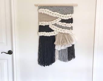 Large woven wall hanging / neutral woven tapestry / grey beige white wall decor / minimalist decor / bedroom decor / fiber art / textile art