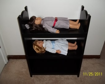 Triple Doll bunk bed for american girl 18 inch dolls.   Black