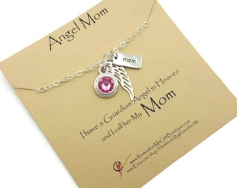 Memorial Gift, Loss of Mom Charm with Sterling Angel Wing and Birthstone, Memorial Jewelry, Memorial Necklace, Sympathy Gift, Loss of Mother