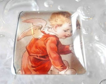 1 square glass cabochon size 25 x 25 mm Angel theme