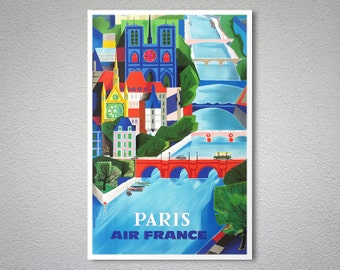 Paris Air France Travel Poster - Poster Print, Sticker or Canvas Print