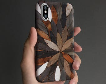 Nature iPhone X case, iPhone 8 case, iPhone 6s case iPhone 7 case, iPhone 6 plus case, tough case, white brown T652