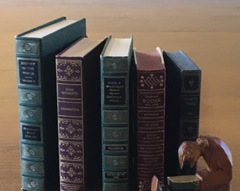 Burgandy Green & Blue Stack Gold Embossed Spines Old Decorative Books Instant Library Decor Wedding Decor