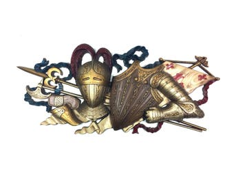"""Knight Armor Wall Decor, Large 33"""" Vintage Medieval Art Wall by Burwood Products, circa 1970"""