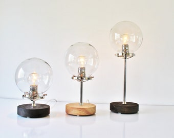 Table Lamp, Industrial Steel, Chrome And Wood Desk Lamp, Clear Globe Glass  Shade