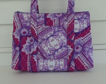 Shades of Purple White Patch Print Quilted Purse Quilted Handbag