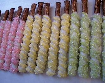 Pretzel Rods Pink Blue Green Yellow Pretty in Pearls Chocolate Pretzel Rods Pearls Baby Shower 1 dozen