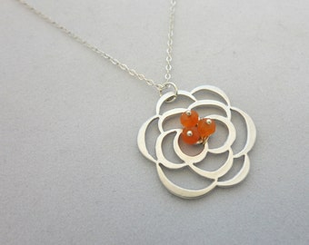 Carnelian Flower Necklace