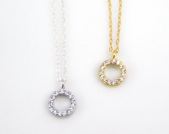 Tiny cz open circle necklace, cz layering necklace available in sterling silver or 14k gold filled, Karma circle necklace