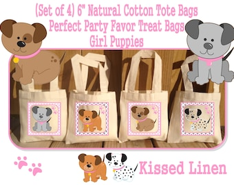 Girly Puppies Pups Dogs Bones Paws Cute Girl Birthday Party Treat Favor Gift Bags Cotton Totes Children Kids