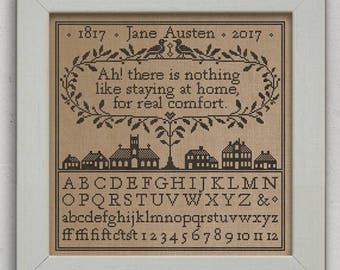 INSTANT DOWNLOAD A Real Comfort A Jane Austen Sampler PDF counted cross stitch patterns by Modern Folk at thecottageneedle.com monochromatic