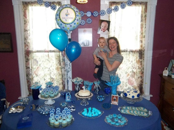 Happy 1st Birthday Party Door Sign Dark Blue and Light Blue