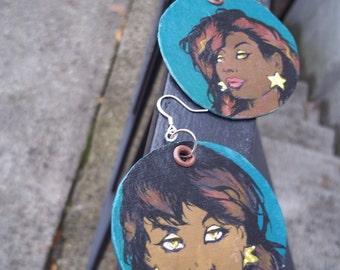 Hera Wynne - African American superhero - hand-painted comic book earrings - Dark Teal