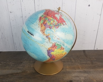 World map desk etsy vintage macleans raised relief globe desk world 12 made in usa retro office decor professor teacher geographic gift student map turquoise gumiabroncs Gallery