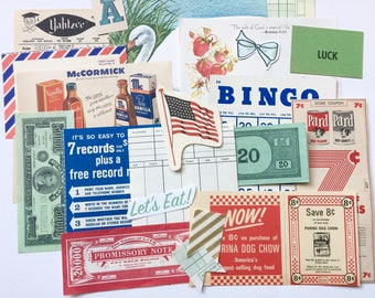 Vintage Ephemera pack- Red, Blue, Green Mix, game cards, paper, collage, scrapbook, journalling, smashbook, junk journal