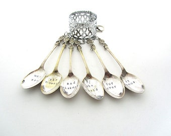 Movers and Shakers, Upcycled Silverware, Handstamped Windchime, Poetry Quotation, Hand Stamped Spoons, Wind Chime