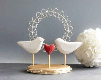 Bird Cake Topper,  Love Bird Wedding Topper, Rustic Wedding Cake Decoration, Wood Wedding Decor, White Wedding Topper