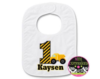 Dump Truck Personalized Birthday BIB Personalized With Any NAME