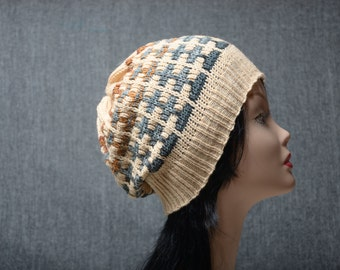 womens beanie mens beanie womens gift knitting accessories, slouchy hat, knitting hat, mens gift