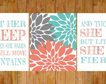 Let Her Sleep Coral Turquoise Grey And Though She Be But Little Fierce Floral Nursery Wall Art 3 8x10 Digital JPG (241)