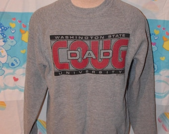 "Vintage 1980s Washington State University WSU Cougars Wazzu Sweatshirt!!!  Soft, Thin ""Coug Dad"" Triblend Raglan Crewneck!!!"