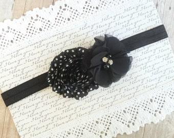 Black Shabby Chic Headband, Polka Dot Headband, Shabby Chic Headbands, Flower Headbands For Babies, Headband Flower, Headband Bows ute Bows